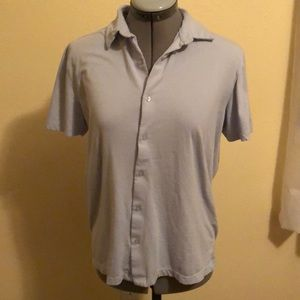 Soft Baby Blue Cotton Short Sleeve Button Down